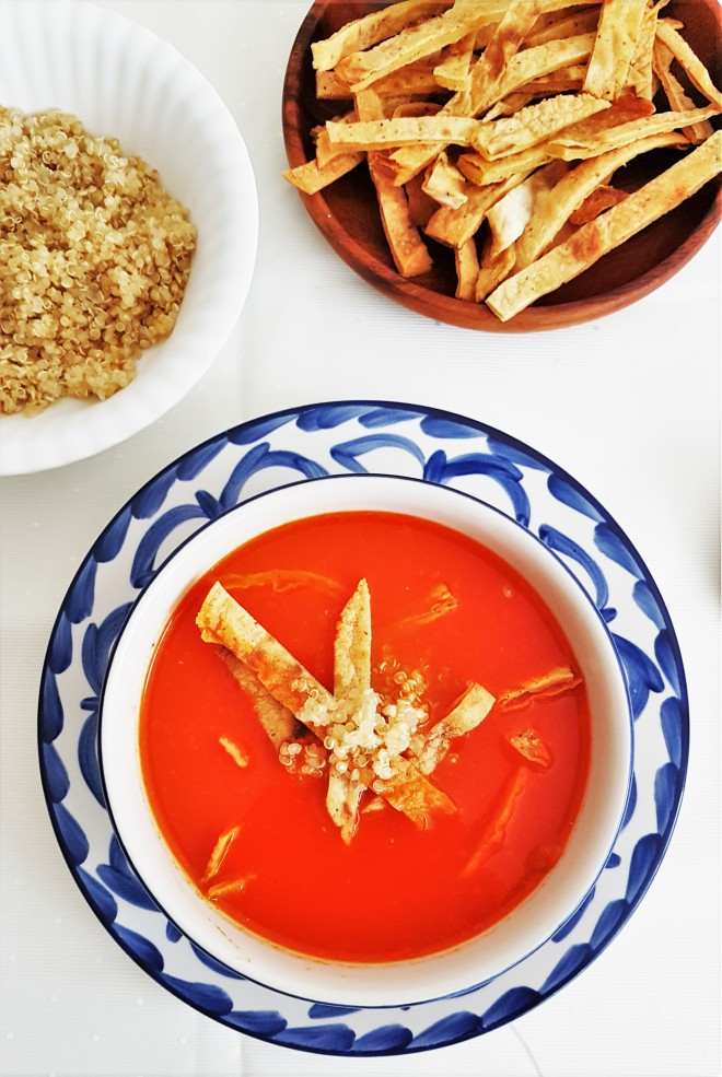 Sopa de tortilla healthy