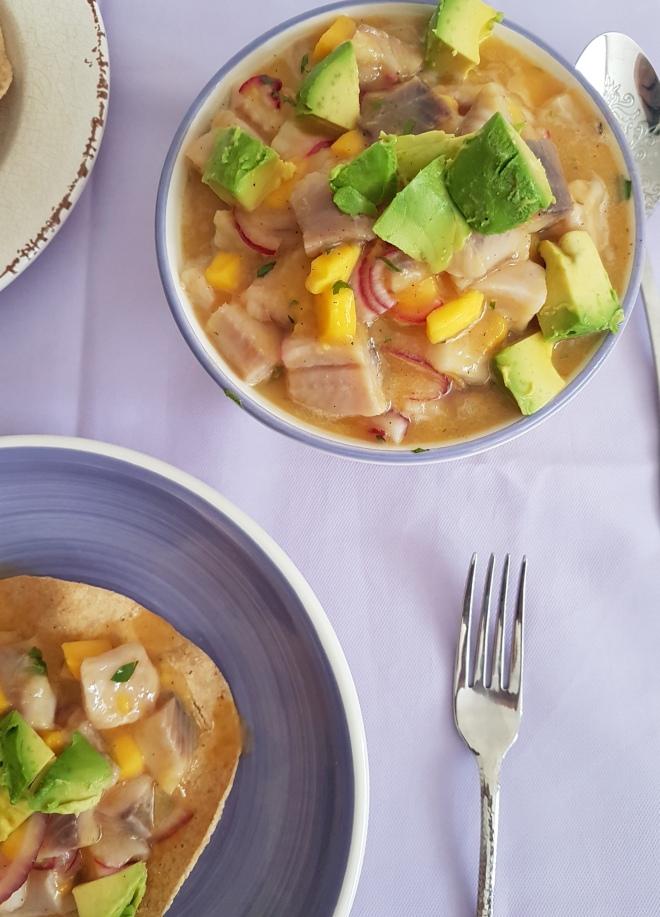 Ceviche con mango